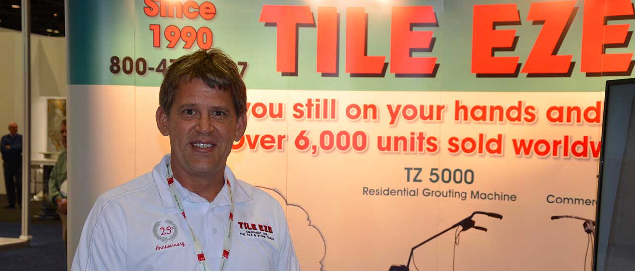 Niels from Naples Shower Repair and Remodeling at a Shower Repair and Remodeling Tradeshow